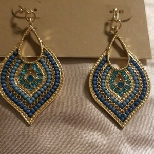 Gold and Turquoise gemmed earrings